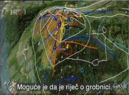 Representación gráfica de un escaneo a través de un satélite, utilizando el radar para detector túneles a diferentes profundidades por debajo de la Pirámide Bosnia del Sol de Bosnia Crédito de la foto: Klaus Dona.