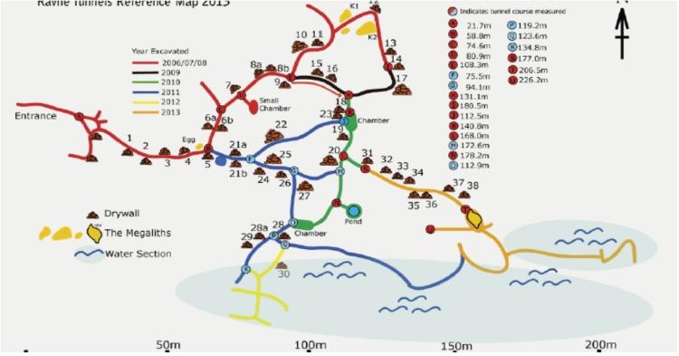 Mapa de referencia de los túneles de Ravne en dirección a la pared norte de la Pirámide del Sol de Bosnia 2013