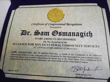 Certificado de Honor de los Estados Unidos al dr. S.Osmanagich