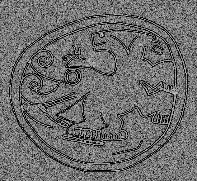 Detalle aproximado, del petroglifo en la esfera