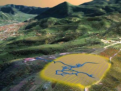 Un esquema de las excavaciones de los túneles de Ravne