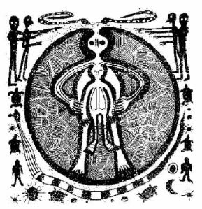 Dibujo descubierto en una cueva, 10,000 años de edad, en Val-Camonica, Italia. Parece enseñar a dos seres dentro de una capa protectora
