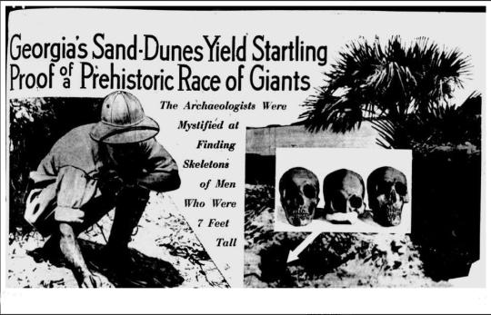 En las dunas de arena en Georgia, surgieron asombrosas pruebas de una raza de gigantes prehistóricos. Los arqueólogos estaban mistificados al encontrar esqueletos de hombres que medían 7 pies (2.13m) de alto.