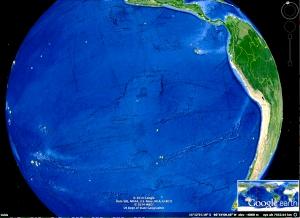 Qué significa este enorme rectángulo en el centro y líneas rectas travesando el Oceano Pacífico?
