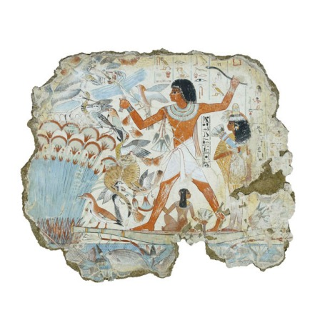 Nebamun hunting in the marshes, fragment of a scene from the tomb-chapel of Nebamun, Thebes, Egypt, late 18th dynasty, around 1350 BC