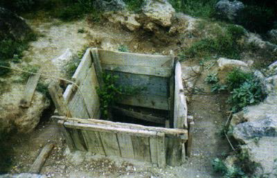 El agujero de entrada a la pirámide subterránea