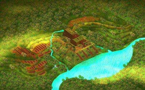El gráfico, por el arquitecto Pon S Purajatnika, es una impresión artística de cómo la pirámide Gunung Padang se habría vistoen la antigüedad.
