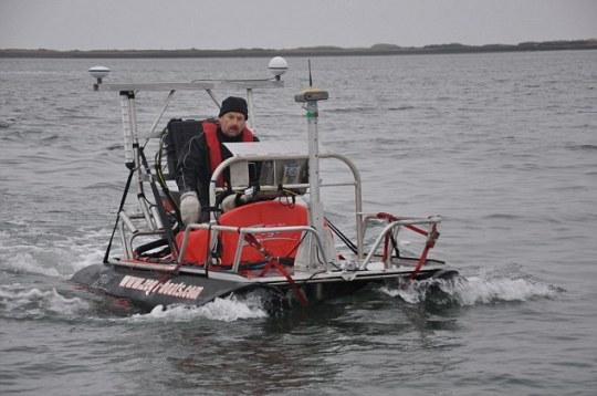 Dr. Richard Bates del departamento de Ciencias de la Tierra en la Universidad de St Andrews, en busca de Doggerland, el país bajo el agua apodado 'Atlantis de Gran Bretaña'