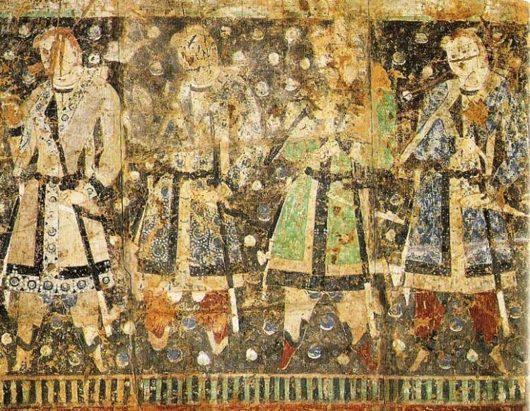 """""""Donantes tocarios"""", con cabello claro y ojos de color claro, fresco CE del siglo séptimo, Qizil, Cuenca del Tarim, Xinjiang, China."""