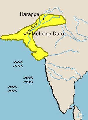 Mohenjo-Daro y Harappasobre el mapa de la India
