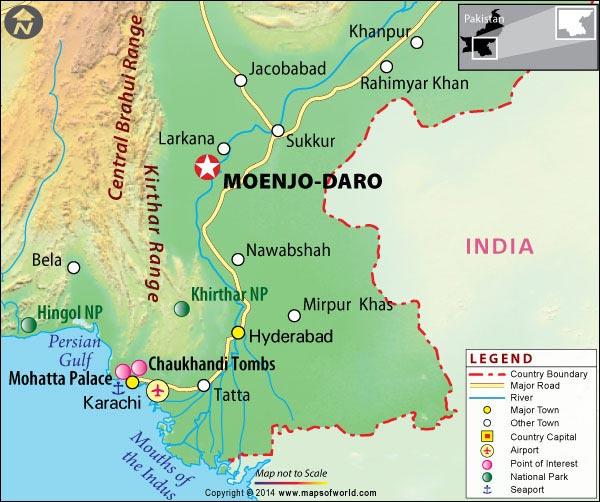 Mapa / locación de Mohenjo-Daro en la India