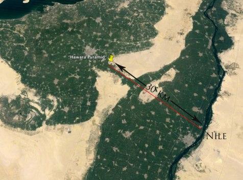 B.  Distancia de la pirämide de Hawara hasta el Nilo