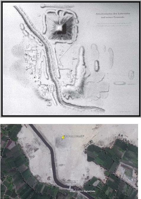 D.Utilizando el mapa de Petri (arriba) para localizar Hawara en Google Earth