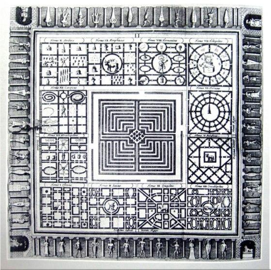 N.   Una placa de cobre grabada y creada por Athanasius Kircher en 1670 de un artefacto encontrado en el laberinto.